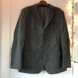 🥧LIKE NEW- Grey Herringbone Wool Blazer